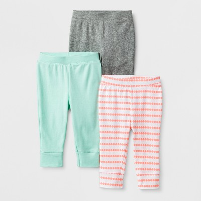 Baby Girls' 3pk Geo Bright Pants - Cloud Island™ Mint Newborn