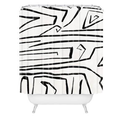 Viviana Gonzalez Modern Improvisation Shower Curtain Black/White - Deny Designs