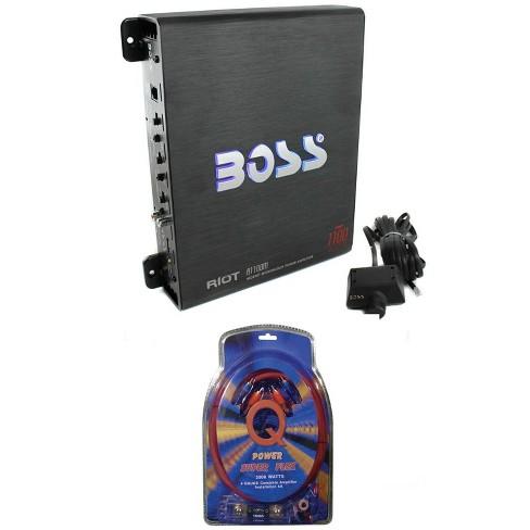 BOSS AUDIO Riot R1100M Mono Car Amp Amplifier Plus Sub Bass Remote + Wiring  Kit : TargetTarget