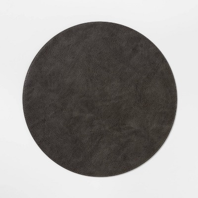 Faux Leather Charger Gray - Threshold™