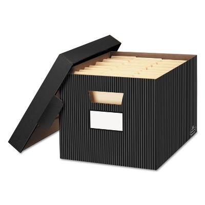 Bankers Box STOR/FILE Decorative Storage Box Letter/Legal Black/Gray 4/Carton 0029803