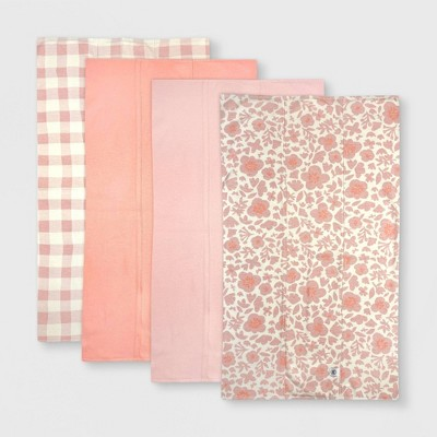 Honest Baby Girls' 4pk Organic Cotton Papercut Floral Multilayer Woven Burp Cloth Set - Pink