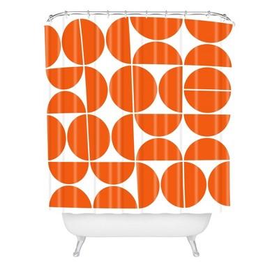 The Old Art Studio Mid Century Modern Shower Curtain Orange - Deny Designs