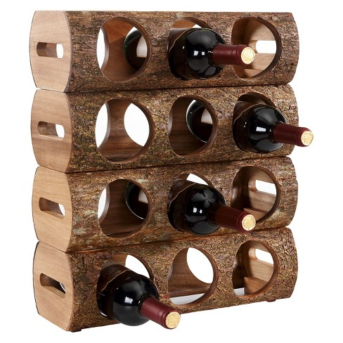 Danya B™ Stackable Three Bottle Wine Holder Log Acacia Wood with Bark - image 1 of 2