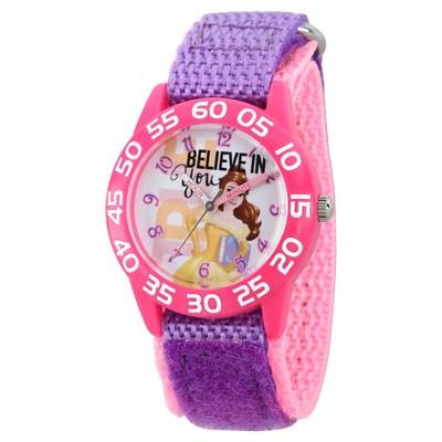 Girls' Disney Princess Belle Pink Plastic Time Teacher Watch - Purple