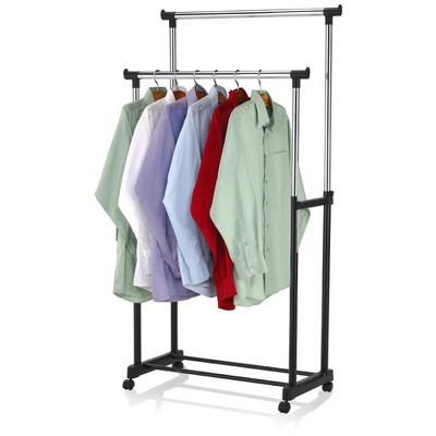 Sunbeam Chrome Plated Steel Double Garment Rack, Black