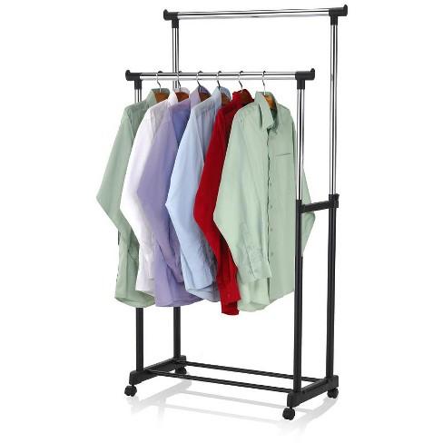 Sunbeam Chrome Plated Steel Double Garment Rack, Black - image 1 of 4