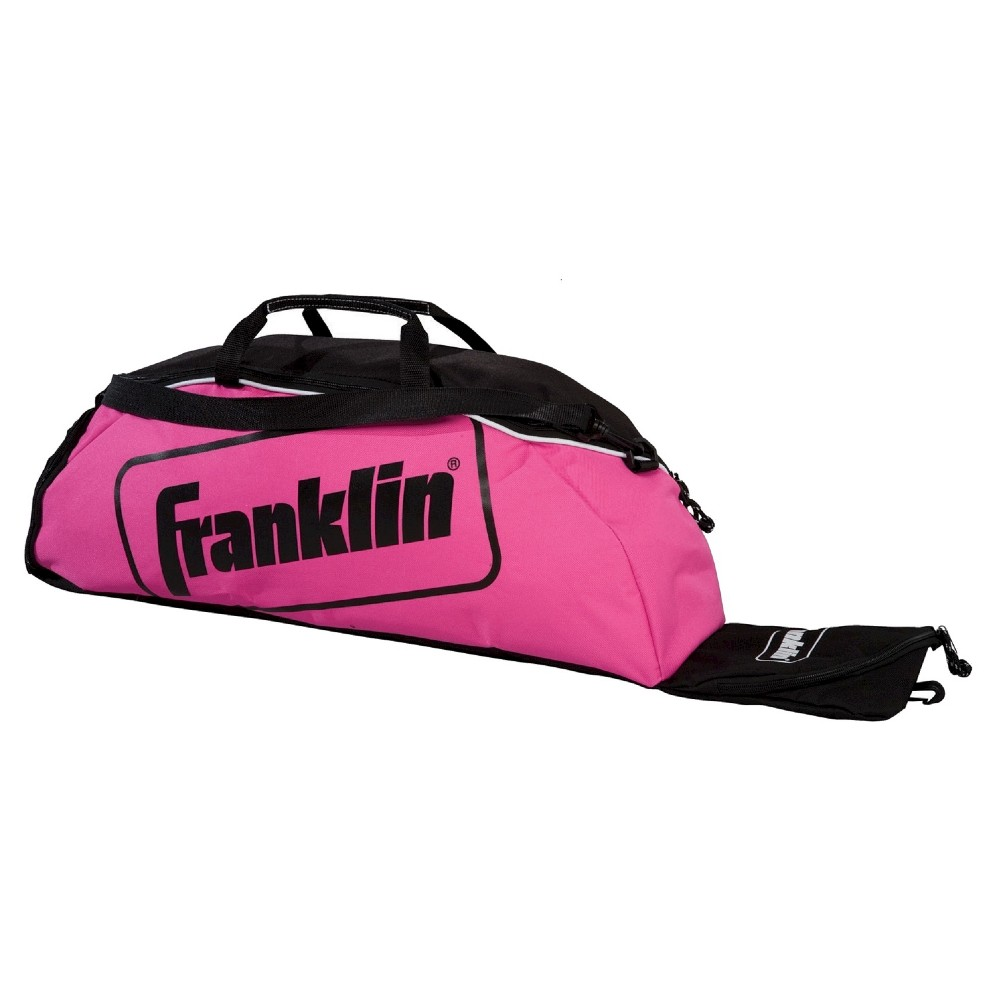Franklin Bat Bag, Pink/Multi-Colored The Franklin Sports Junior Equipment Bag has room to hold up to 3 bats and features a ventilated cleat storage compartment for easy storage and transport. Pack up your equipment and start playing with the Junior Equipment Bag from Franklin Sports. Color: Pink/Multi-Colored. Age Group: Adult.