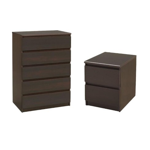 Wood Scottsdale 2 Piece 5 Drawer Chest and 2 Drawer Nightstand Set in Coffee brown-Tvilum - image 1 of 3