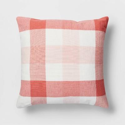 Square Check Pillow Coral/White - Threshold™