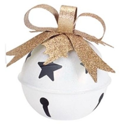 """Diva At Home 7.5"""" Snow White and Gold Color Jingle Bell Tea Light Christmas Candle Holder with Bow"""