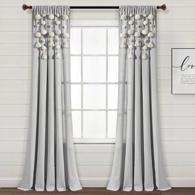 "84""x52"" Pom-Pom Tassel Linen Light Filtering Window Curtain Panel - Lush Décor"
