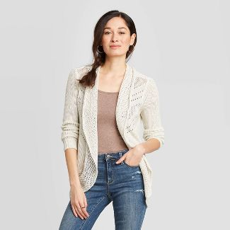 Womens 14-20 New Long Taupe Black Check Knit Open Jacket Cardigan Girls Ladies