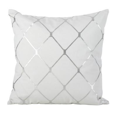 Down Filled Metallic Diamond Design Throw Pillow - Saro Lifestyle