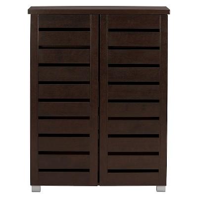 Adalwin Modern and Contemporary 2-Door Wooden Entryway Shoes Storage Cabinet - Dark Brown - Baxton Studio