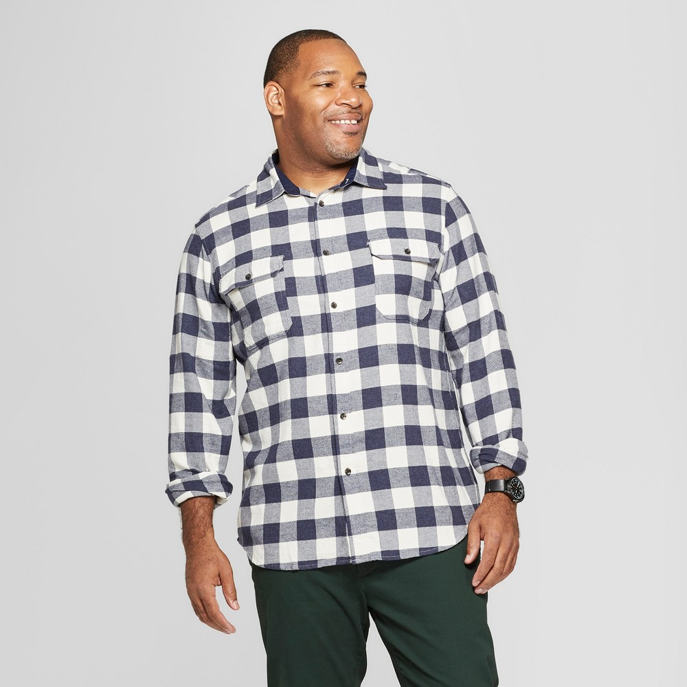 Men's Tall Checkered Standard Fit Long Sleeve Flannel Button-Down Shirt - Goodfellow & Co White LT