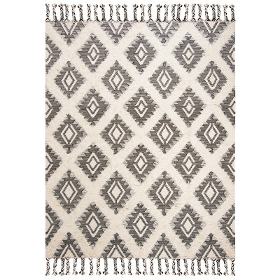9'X12' Tribal Design Knotted Area Rug Black/Ivory - Safavieh