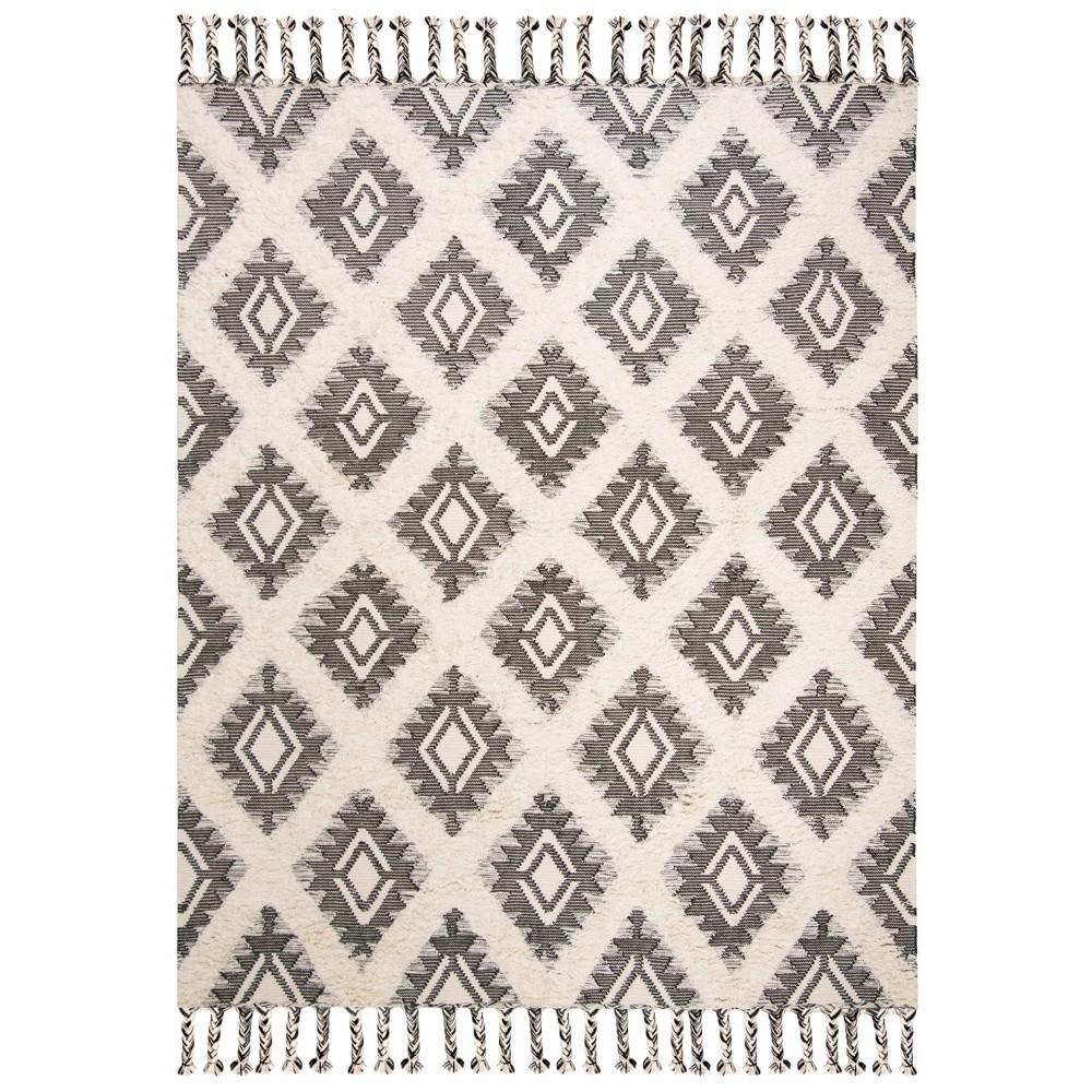 9'X12' Tribal Design Knotted Area Rug Black/Ivory - Safavieh