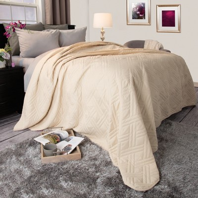 Solid Color Bed Quilt (Full/Queen)Ivory - Yorkshire Home