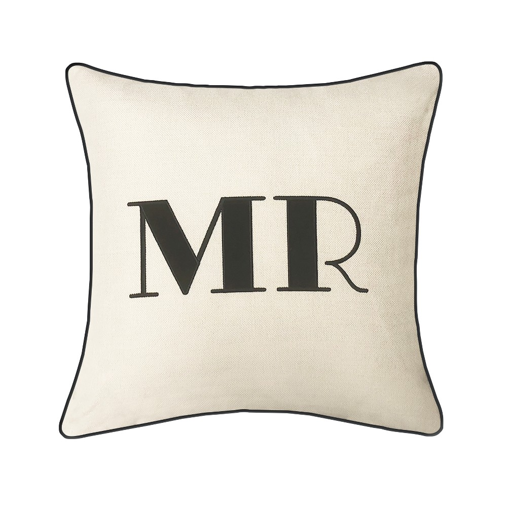 Image of 'Mr' Pillow Embroidered, Poly-Linen Square Throw Pillow Cream - Edie@Home