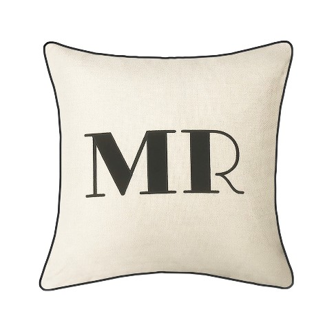 """Mr"" Pillow Embroidered, Poly-Linen Square Throw Pillow Cream - Edie@Home - image 1 of 1"