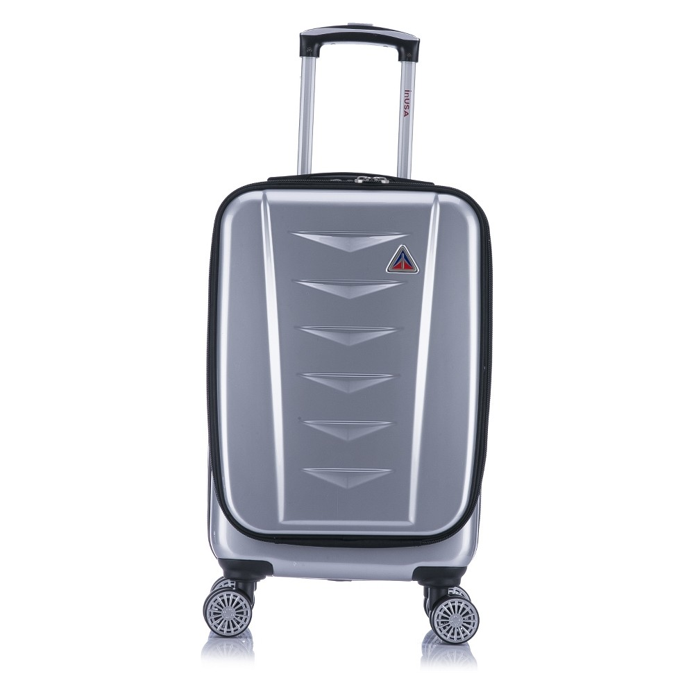 InUSA AirWorld 20 Hardside Spinner Carry On Suitcase - Silver, Light Silver