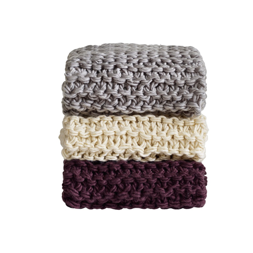 Ivory Chunky Knit Throw Blankets (50