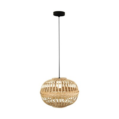 1-Light Armsfield Oval Pendant with Wood Shade Brown - EGLO