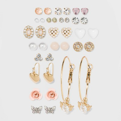 Multi Plate and Acrylic Stones, Zinc and Steel Parts Multi Earring Set 18pc - Wild Fable™ White Crystal