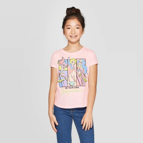 Girls' 'Be Your Own Superhero' Short Sleeve T-Shirt - Pink - image 1 of 3