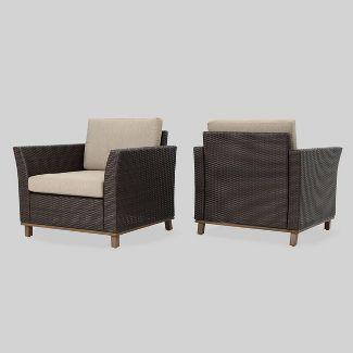 Glenwood 2pk Wicker Outdoor Patio Club Chair - Beige - Christopher Knight Home
