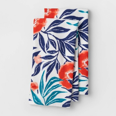 2pk Floral Flat-Woven Hand Towels Blue - Opalhouse™