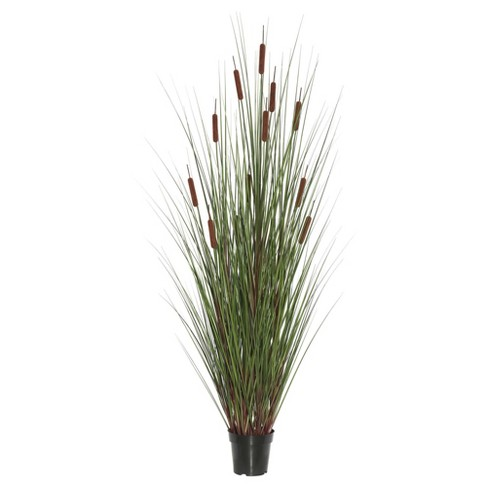 artificial grass with 8 cattails potted 48 green brown