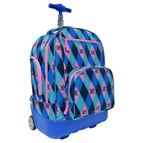 "Pacific Gear Treasureland 18"" Hybrid Lightweight Rolling Backpack - Argyle - image 1 of 4"