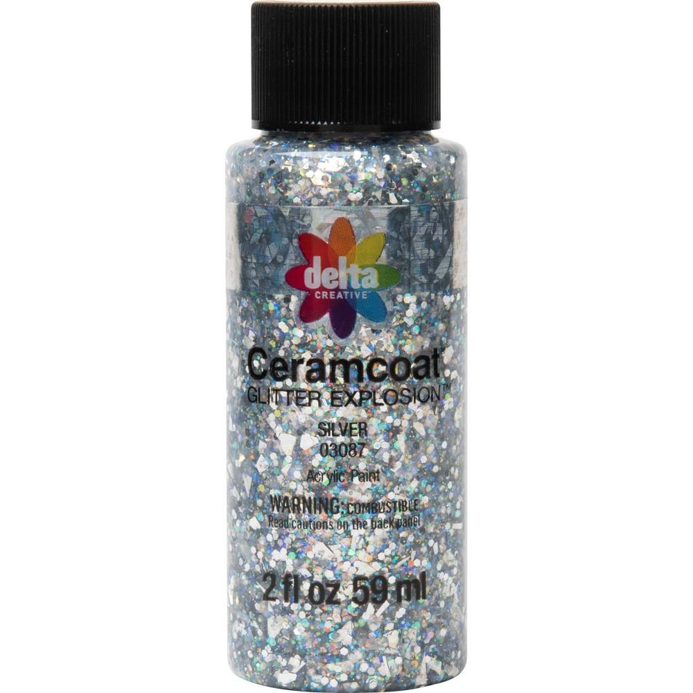 Delta Ceramcoat Glitter Explosion Acrylic Paint (2oz) - Silver