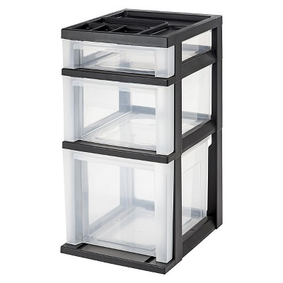 IRIS 3 Drawer Storage Cart with Organizer Top