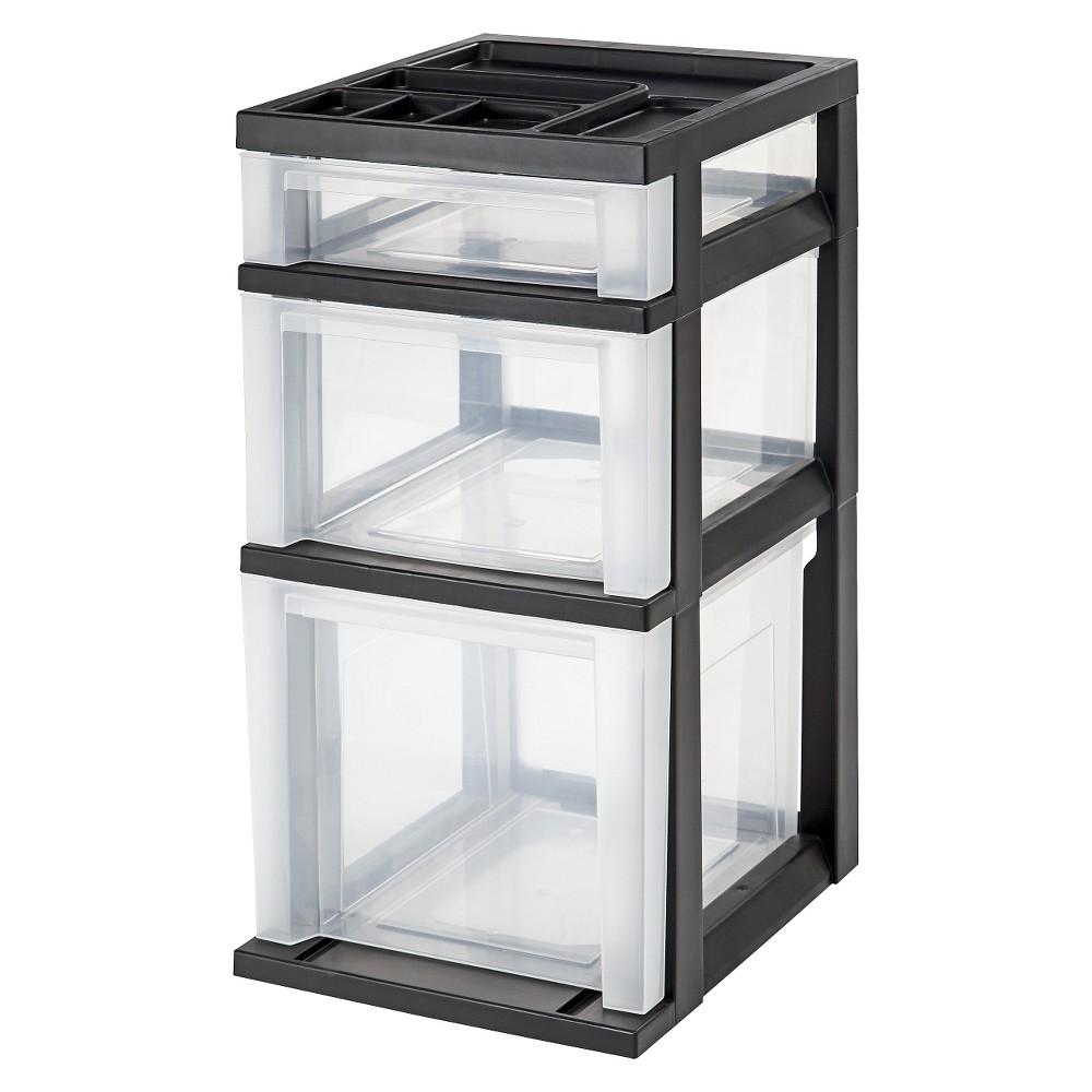 Image of IRIS 3 Drawer Storage Cart with Organizer Top