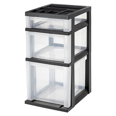 Charmant IRIS 3 Drawer Storage Cart With Organizer Top