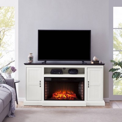 Binslen Widescreen Fireplace Media Console White/Black - Aiden Lane