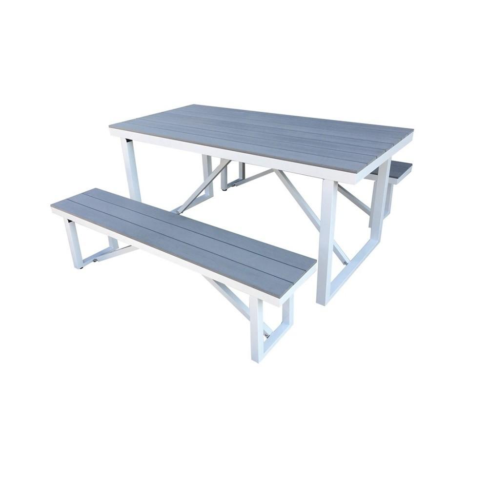 Numana 3pc Aluminum and Faux Wood Picnic Table Set - Thy Hom, Gray