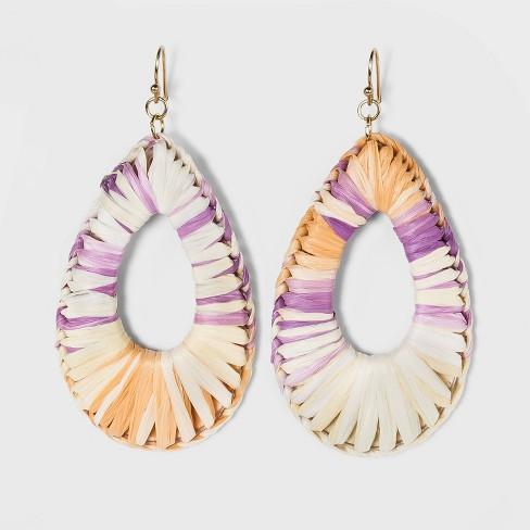 Ombre Raffia Woven Teardrop Earrings - A New Day™ - image 1 of 2