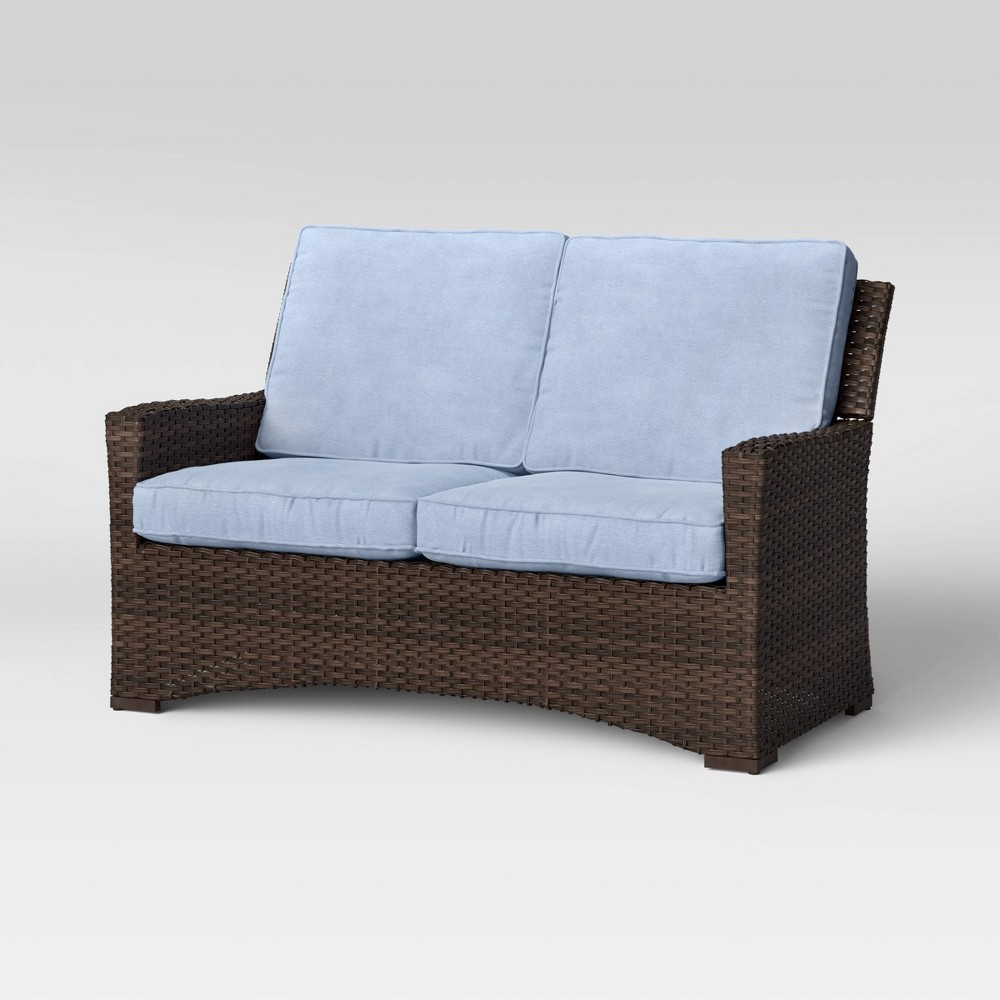 Halsted Wicker Patio Loveseat Chambray Threshold 8482