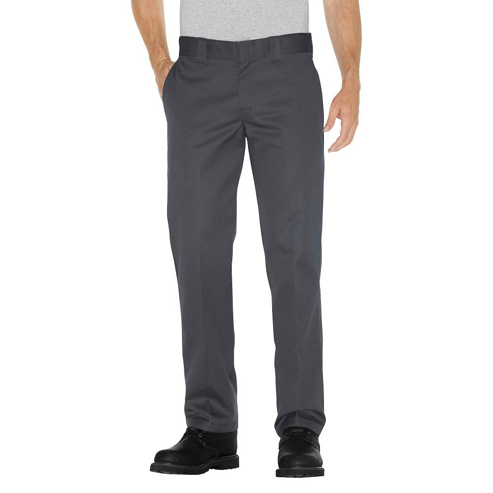 Dickies Men's Slim Straight Fit Twill Pants- Charcoal (Grey) 33x32
