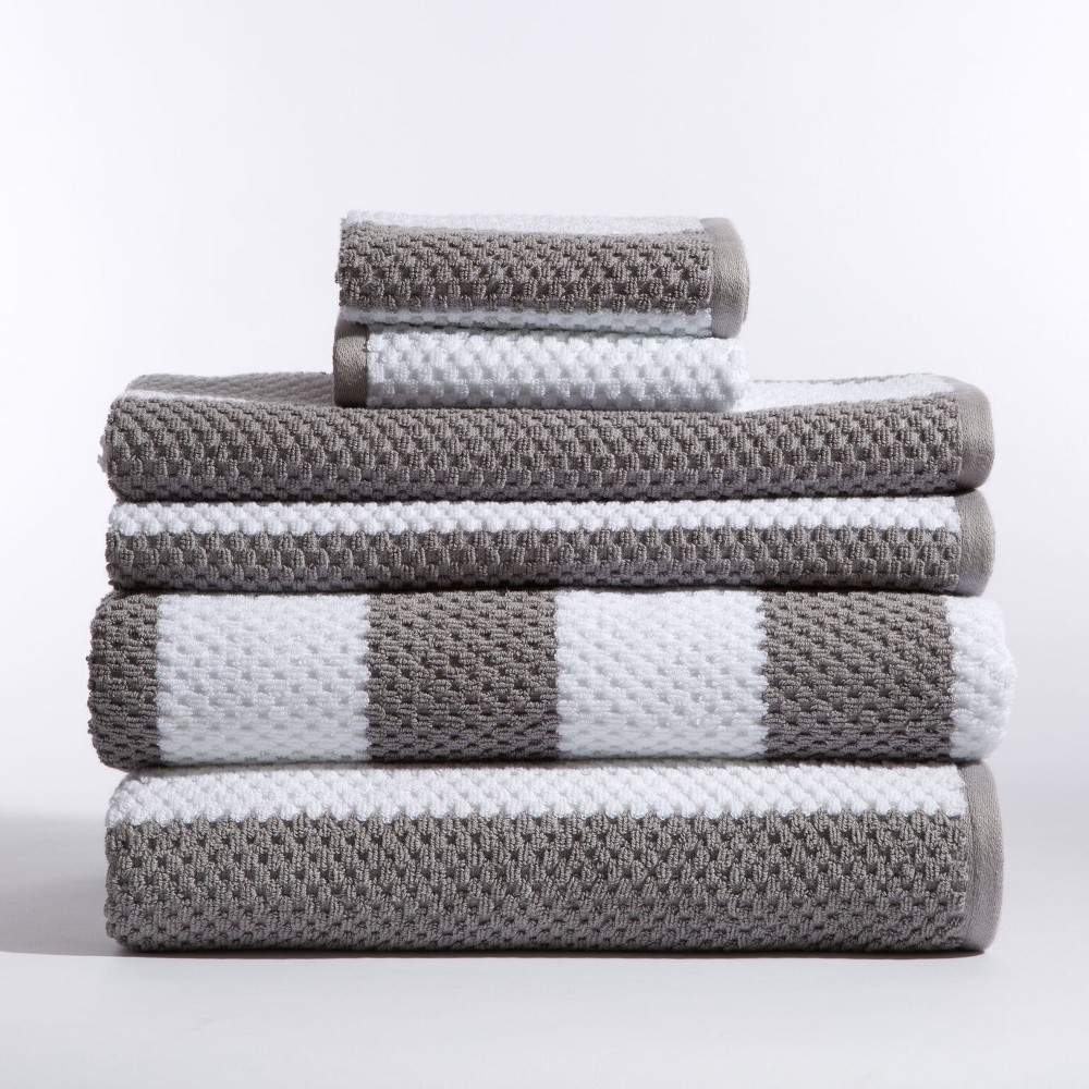 Image of 6pc Rugby Stripe Nickel Bath Towels Sets - Caro Home