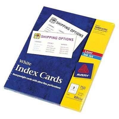 Avery LaserInkjet Printers Index Cards White 150 Per Box Target
