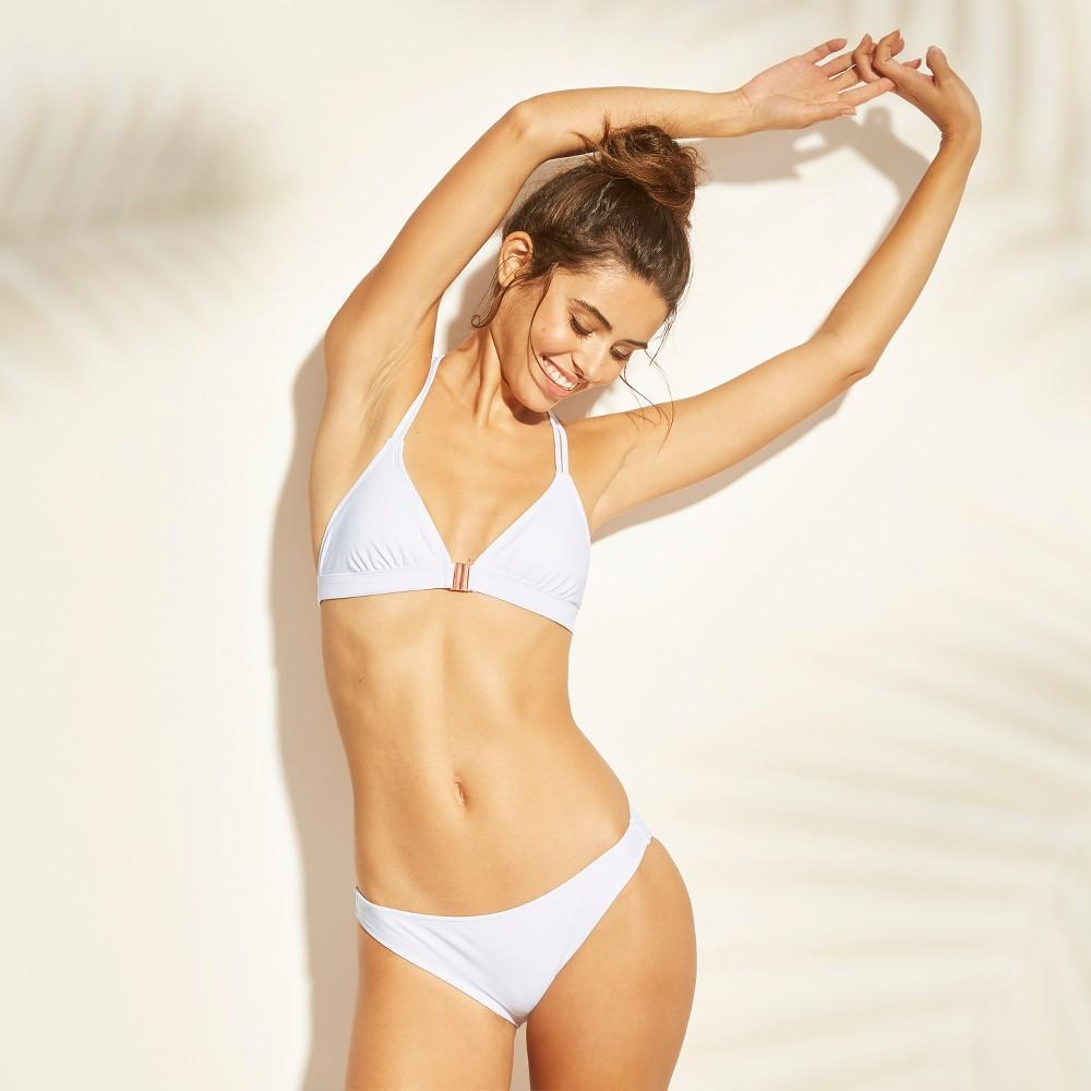 Women's Clasp Front Triangle Bikini Top - Xhilaration White L
