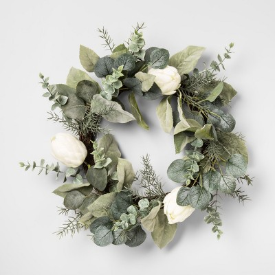 20  Artificial Protea Wreath White - Opalhouse™