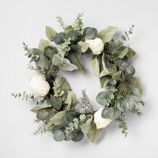 "20"" Artificial Protea Wreath White - Opalhouse™"