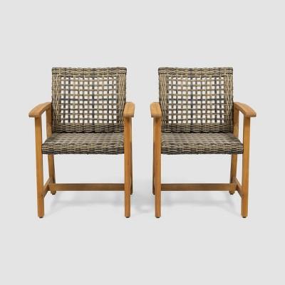 Hampton 2pk Acacia Wood & Wicker Dining Chairs - Natural/Gray - Christopher Knight Home