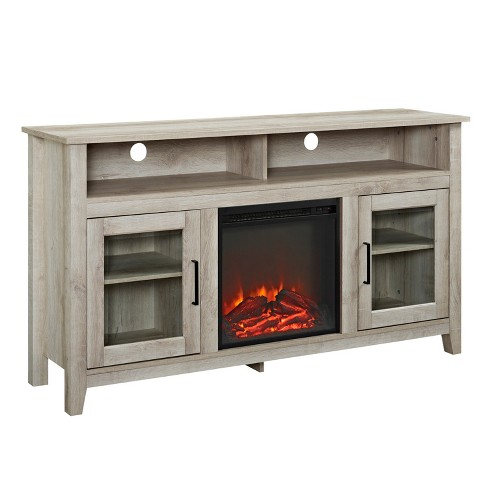 "Wood Highboy Fireplace Media Console TV Stand for TVs up to 65"" - Saracina Home - image 1 of 4"
